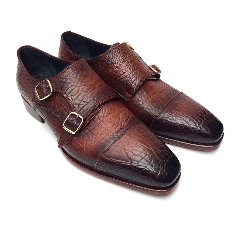 Paul Parkman Textured Leather Double Monk Strap Shoes Brown Image
