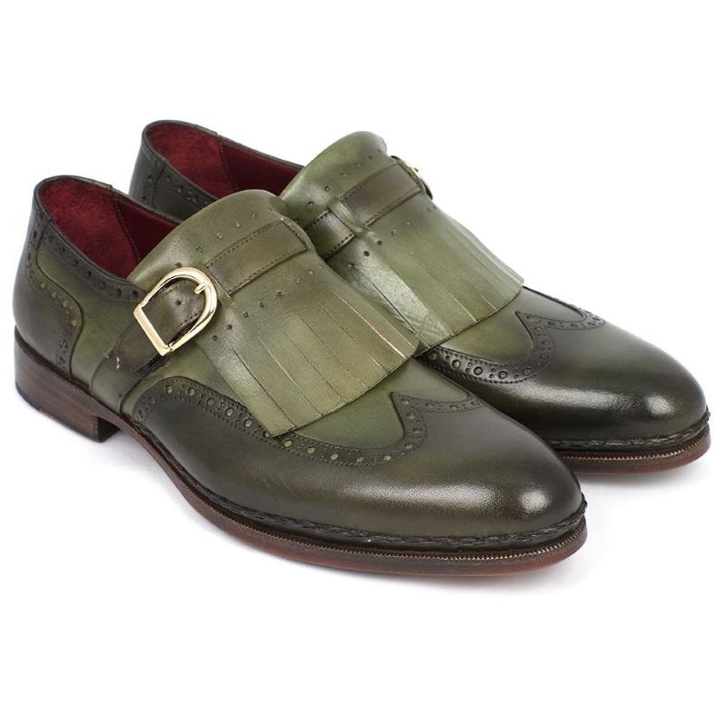 Paul Parkman Wingtip Monk Strap Shoes Green Image
