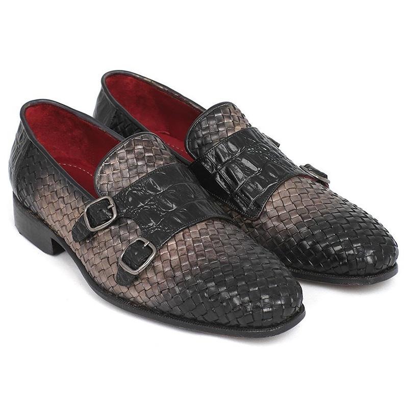 Paul Parkman Woven & Croc Embossed Monk Strap Shoes Gray Image