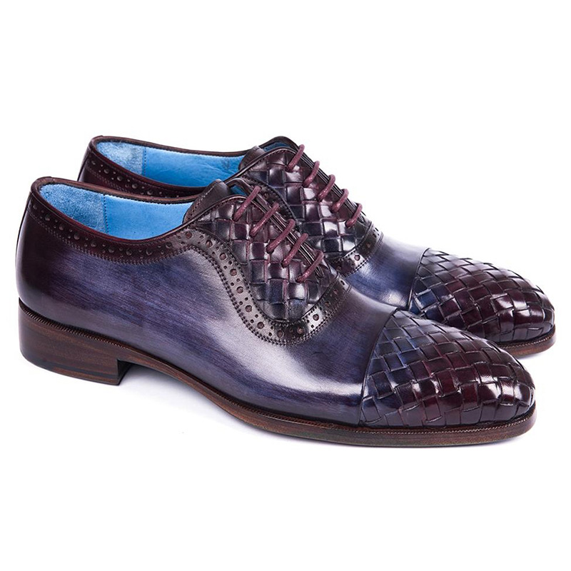 Paul Parkman Woven Leather Captoe Oxfords Navy & Purple Image