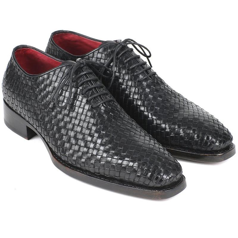 Paul Parkman Woven Leather Oxfords Black Image