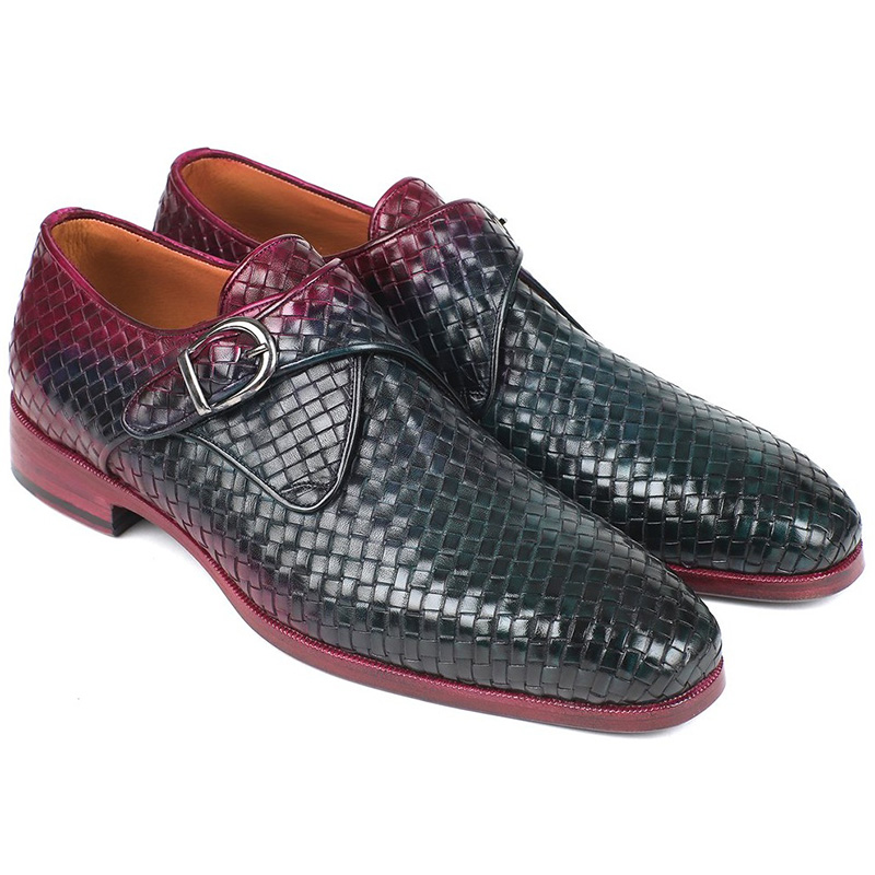 Paul Parkman Woven Leather Single Monk Strap Shoes Purple & Green Image