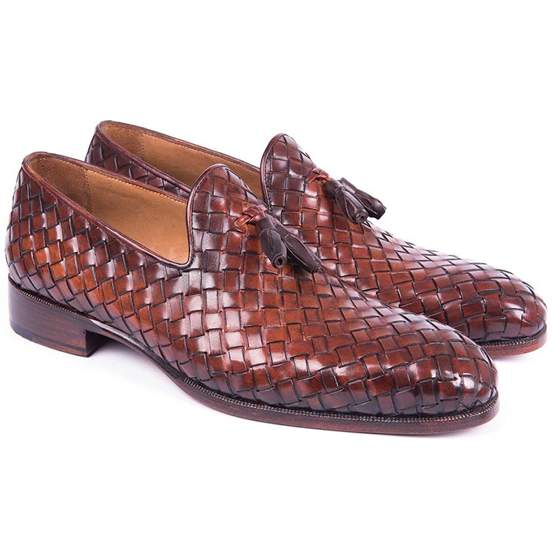 Paul Parkman Woven Leather Tassel Loafers Brown Image