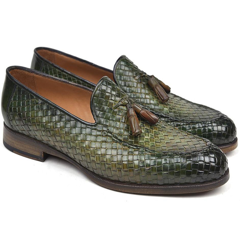 Paul Parkman Woven Leather Tassel Loafers Green Image