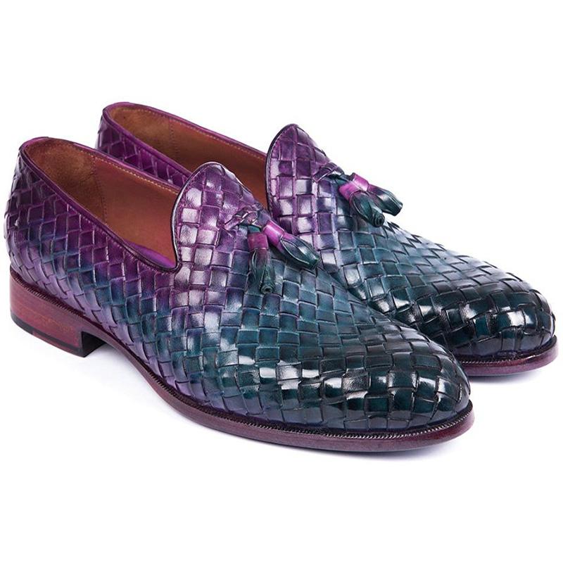 Paul Parkman Woven Leather Tassel Loafers Multicolor Image