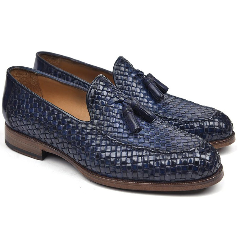 Paul Parkman Woven Leather Tassel Loafers Navy Image