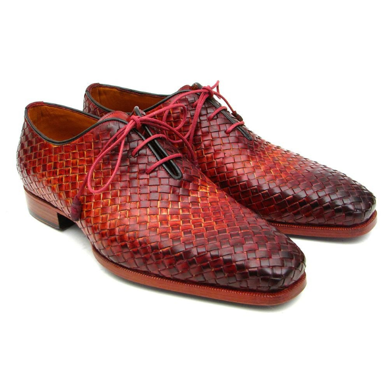 Paul Parkman Woven Oxfords Bordeaux / Tobacco Image