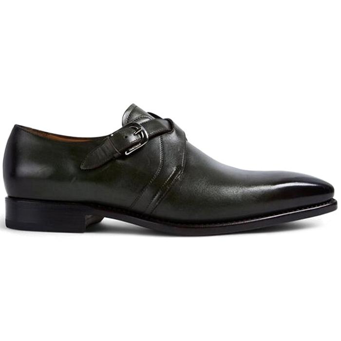 Paul Stuart Galante Monk Strap Shoes Dark Green Image