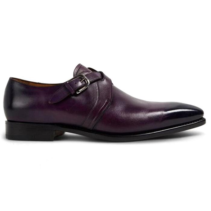 Paul Stuart Galante Monk Strap Shoes Eggplant Image