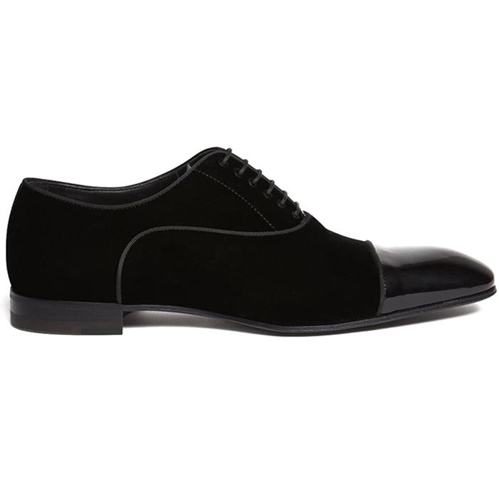 Paul Stuart Hades II Velvet Lace-Up Shoes Black Image