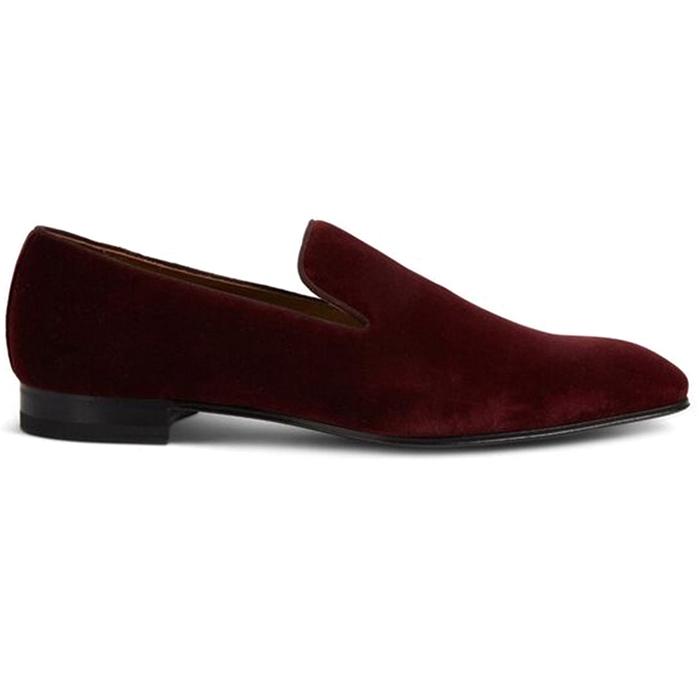 Paul Stuart Harrier III Velvet Shoes Crimson Image