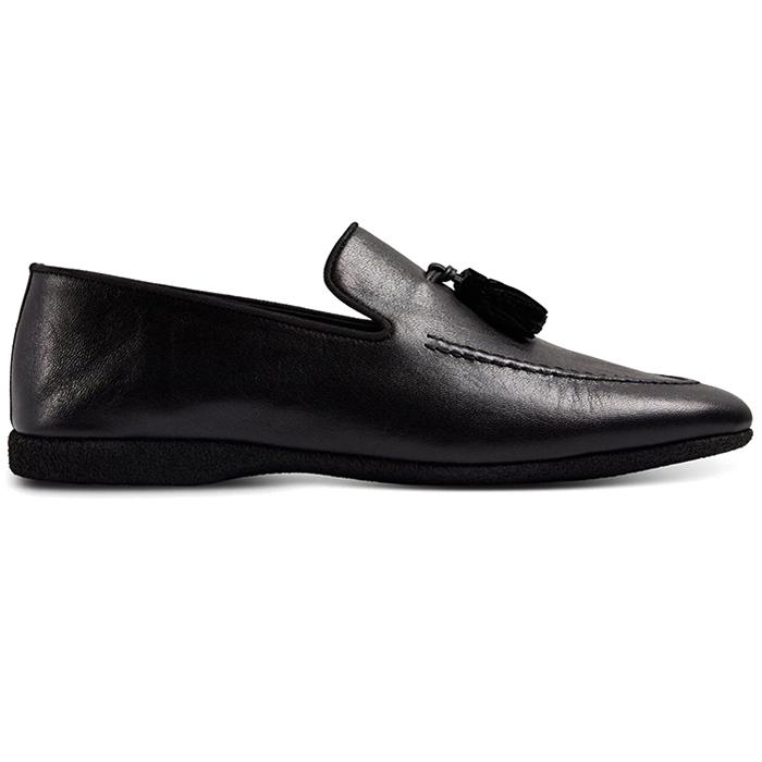 Paul Stuart Hope Leather Slip-On Shoes Black Image
