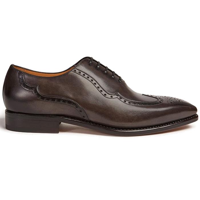 Paul Stuart Milano Calfskin Wing Tip Shoes Grey Image