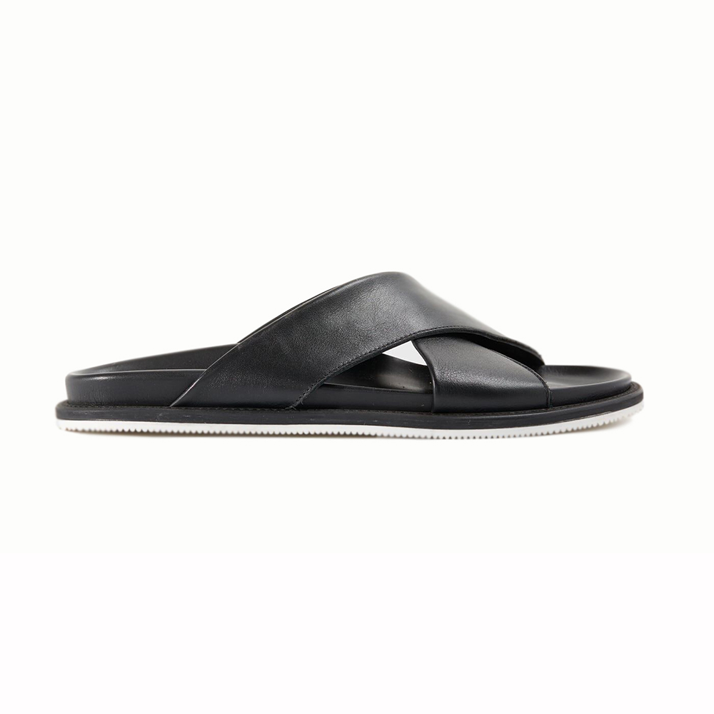 Paul Stuart Punta Leather Sandals Black Image