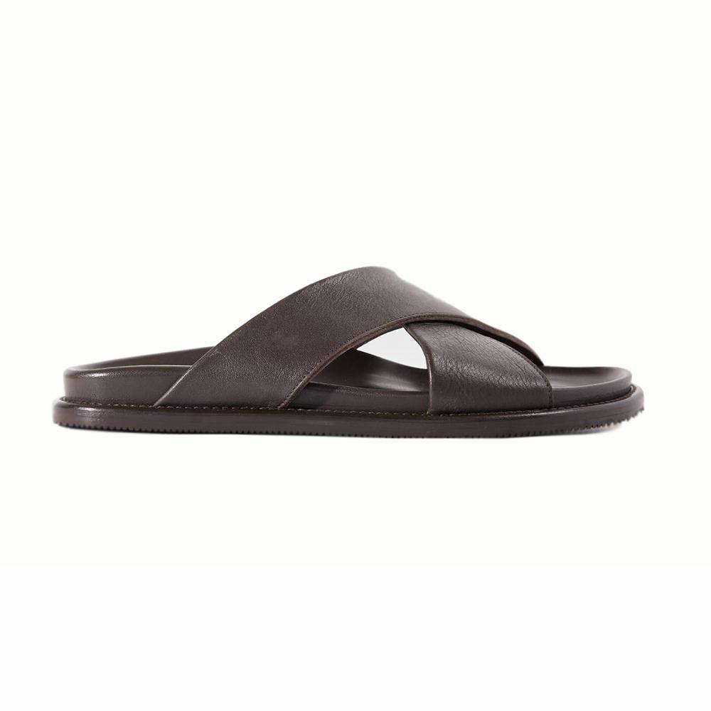 Paul Stuart Punta Leather Sandals Dark Brown Image
