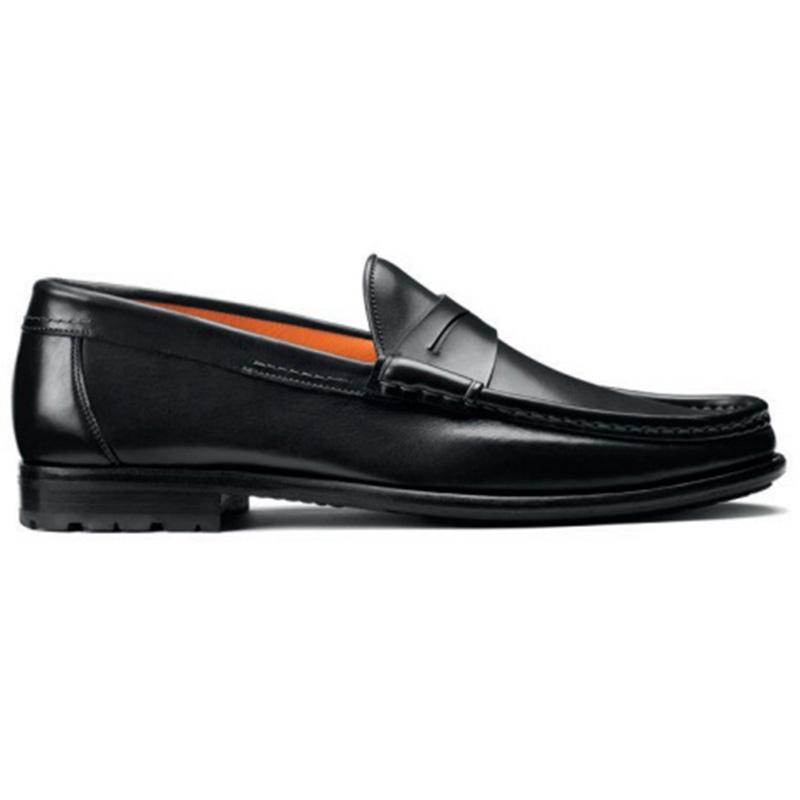 Santoni Ascott P1 Penny Loafer Shoes Black Image