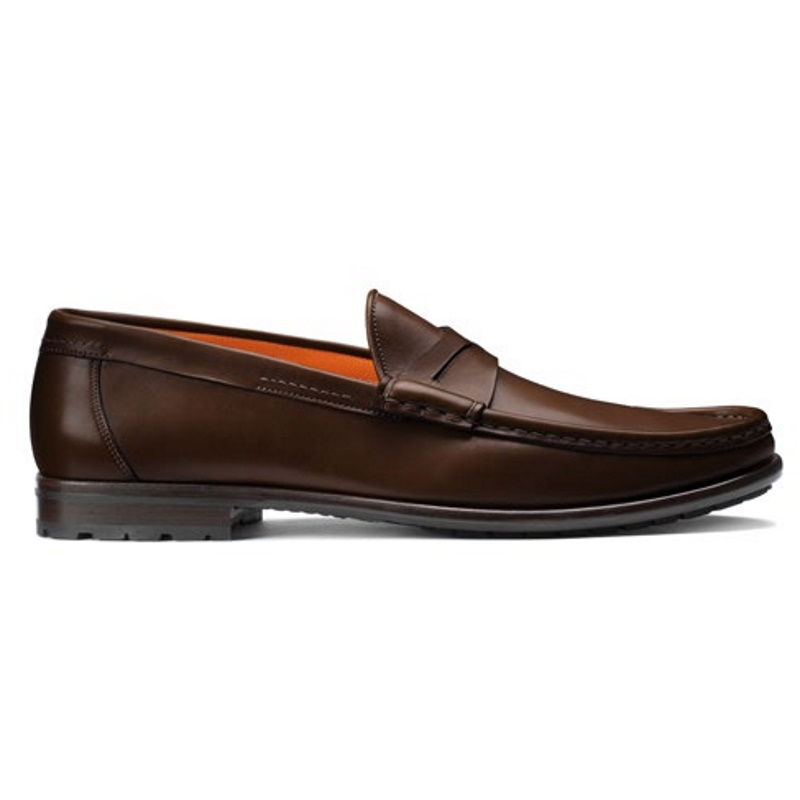 Santoni Ascott P2 Penny Loafer Shoes Brown Image