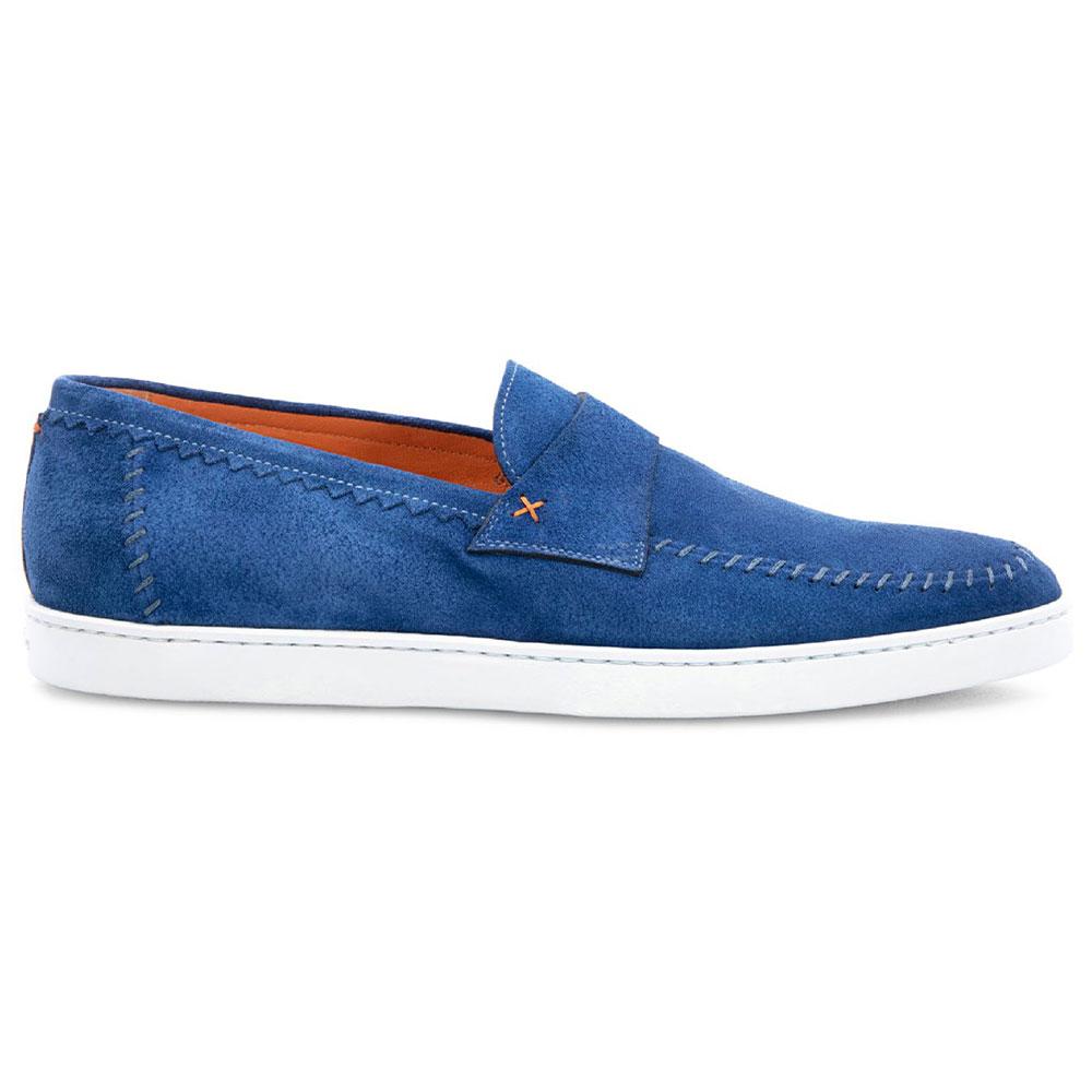 Santoni Banker Suede Loafers Blue Image
