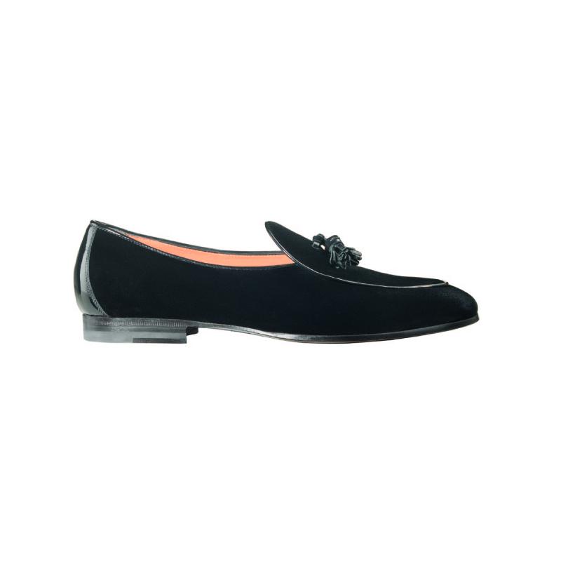 Santoni Bijon 1 Suede Tassel Loafers Black Image