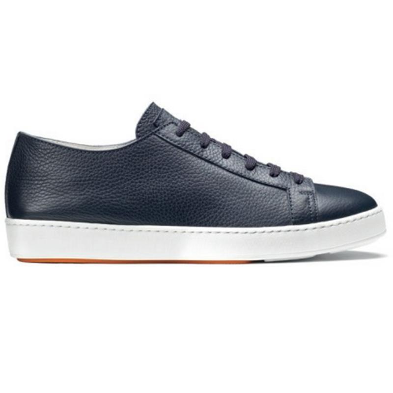 Santoni Cleanic MI Tumbled Calfskin Sneaker Blue Image
