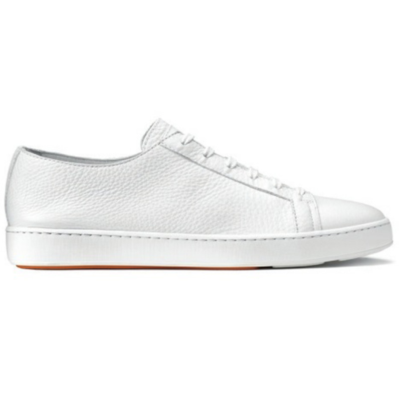 Santoni Cleanic MI Tumbled Calfskin Sneaker White Image