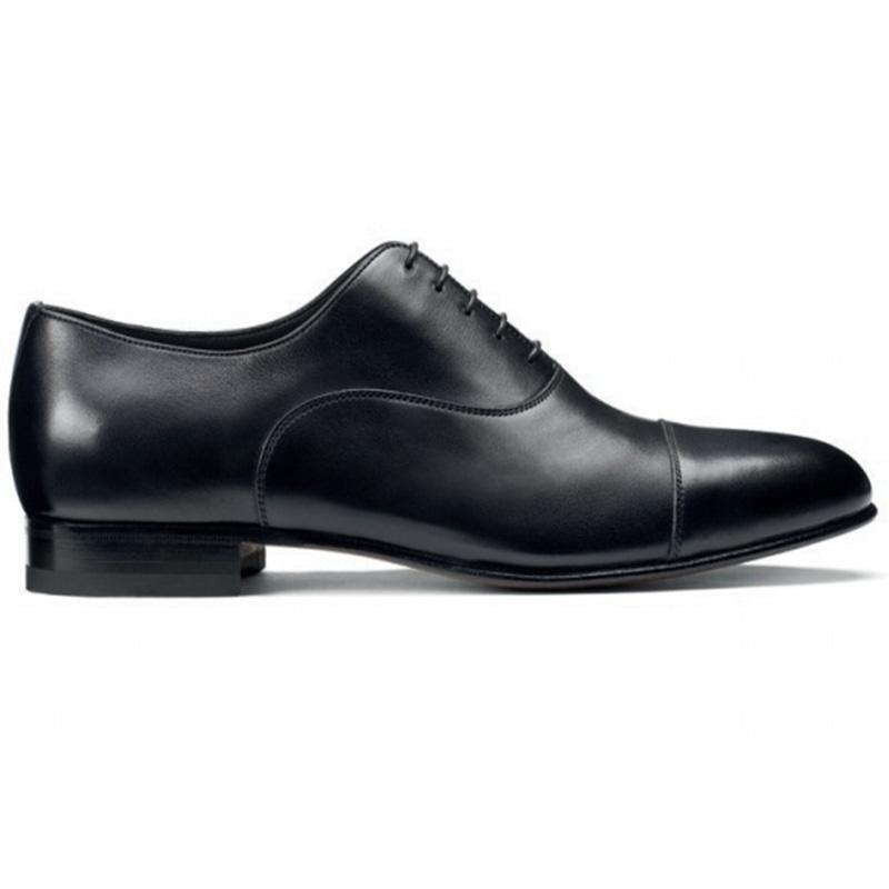 Santoni Darian Toe Cap Oxford Shoes Black Image