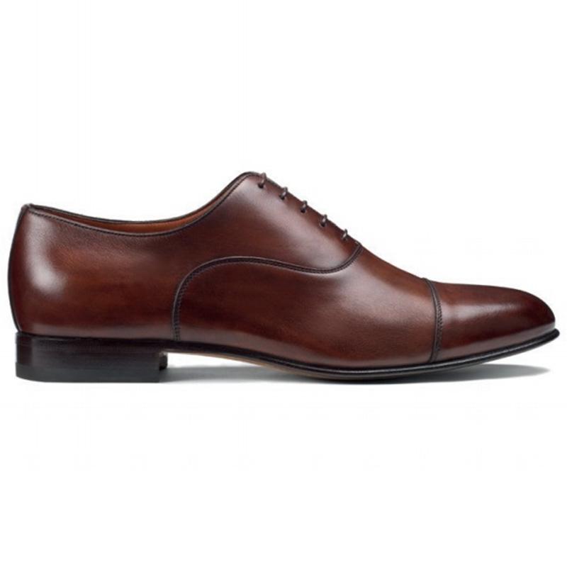 Santoni Darian Toe Cap Oxford Shoes Brown Image