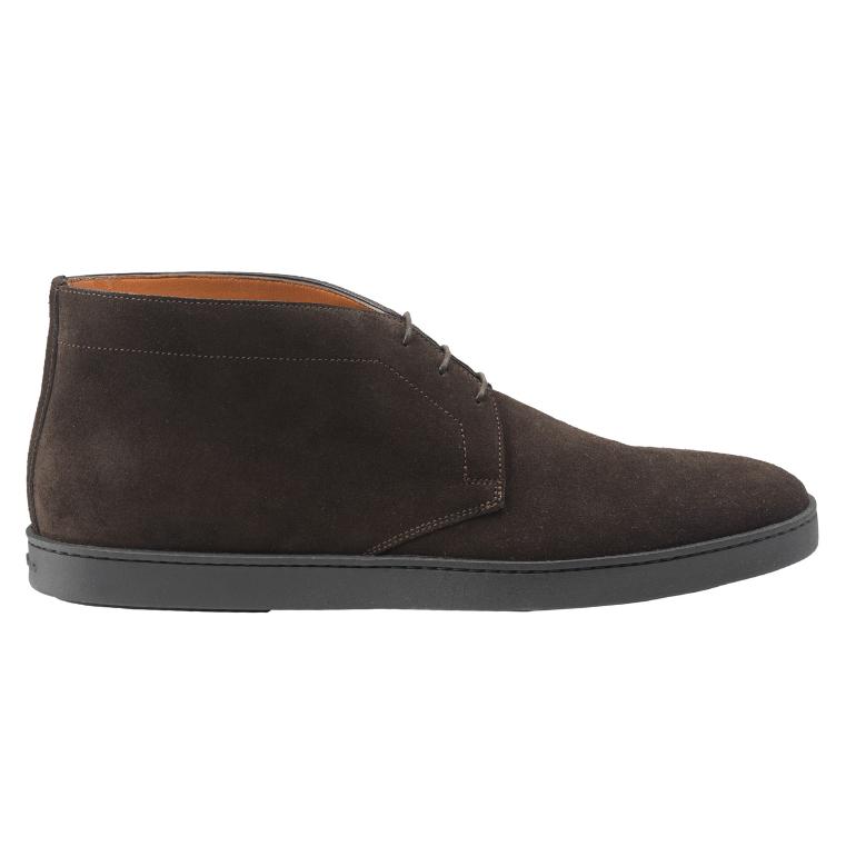 Santoni Eddy S3 Suede Casual Boots Dark Brown Image