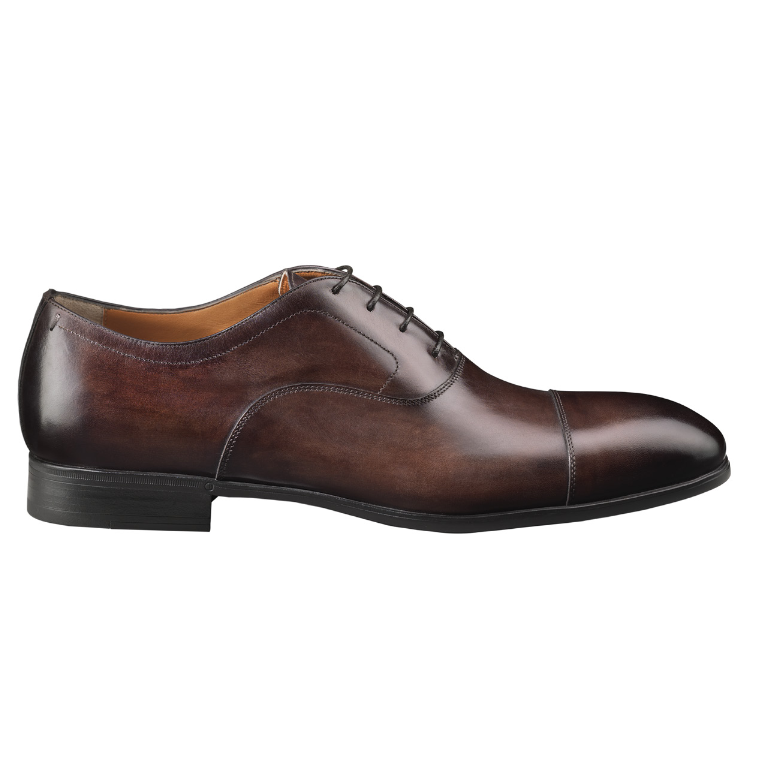 Santoni Ethan Cap Toe Bal Oxfords Dark Brown Image