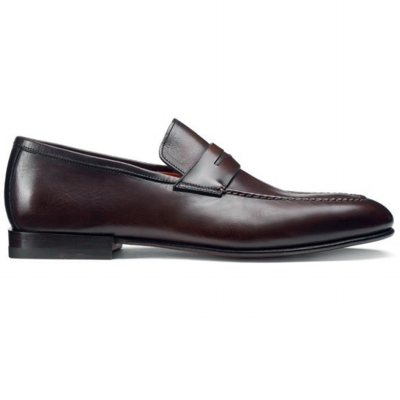 Santoni Fox 3 Penny Loafer Shoes Dark Brown Image