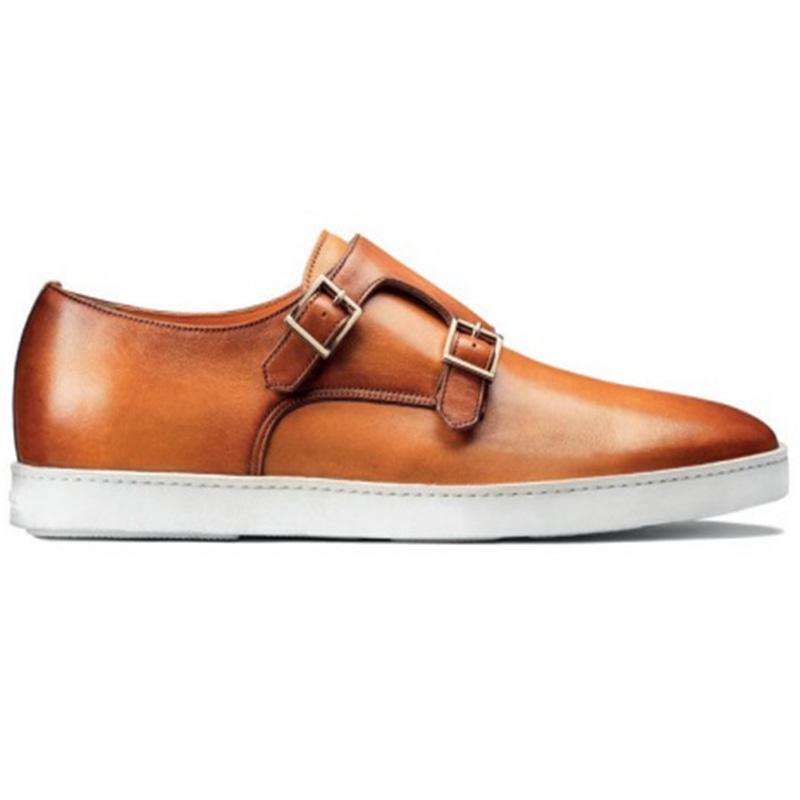 Santoni Fremont 5 Double Buckle Sneaker Light Brown Image