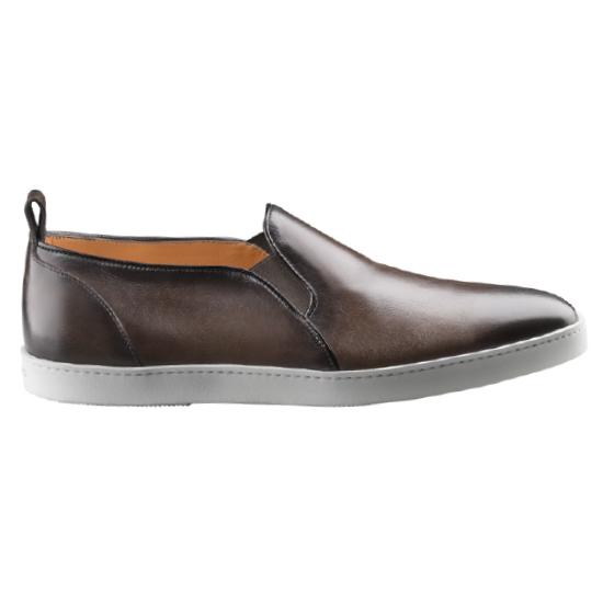Santoni Fresno 3 Plain Toe Elastic Slip On Dark Brown Image