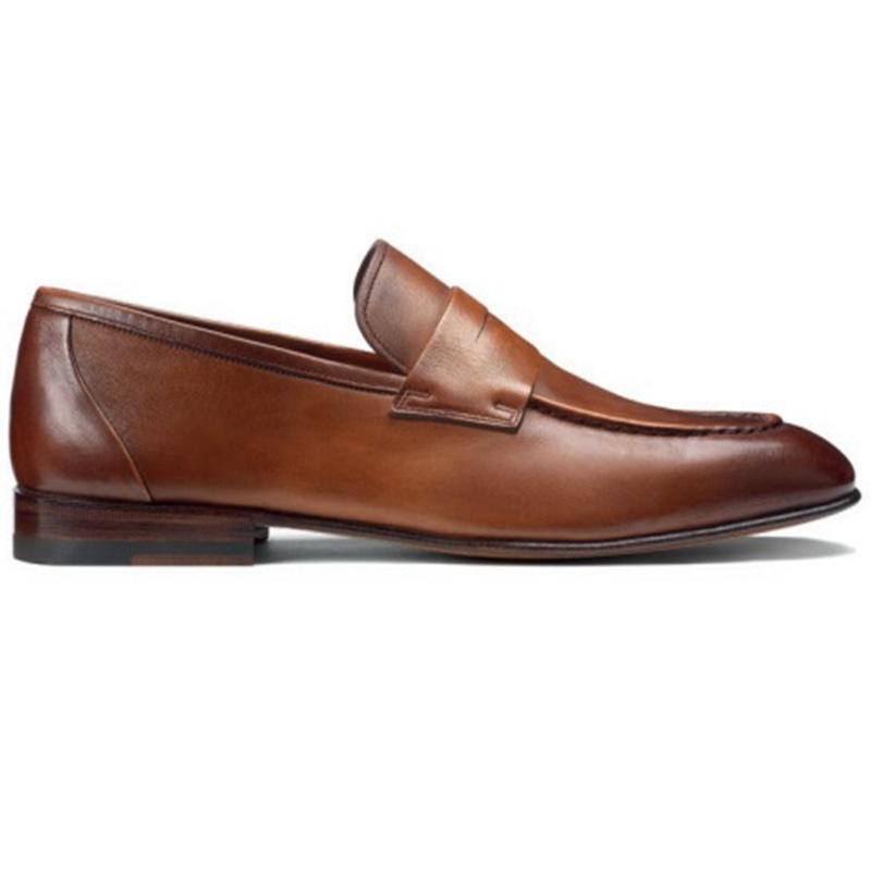 Santoni Gannon 5 Penny Loafer Shoes Brown Image
