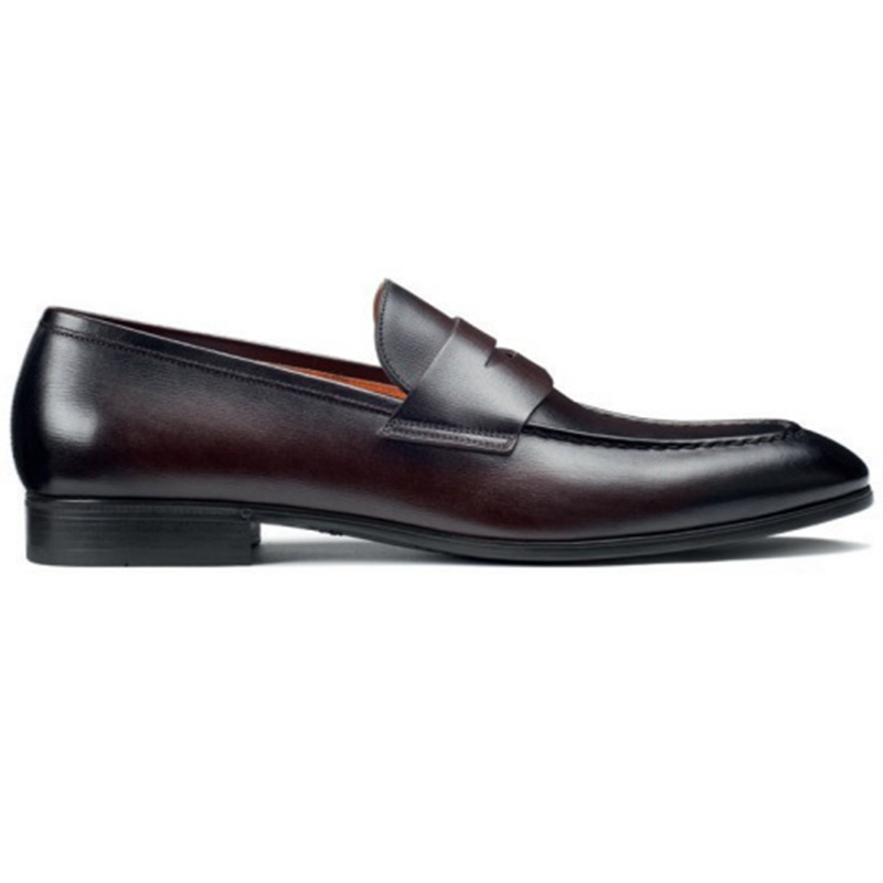 Santoni Gavin B3 Penny Loafer Shoes Dark Brown Image