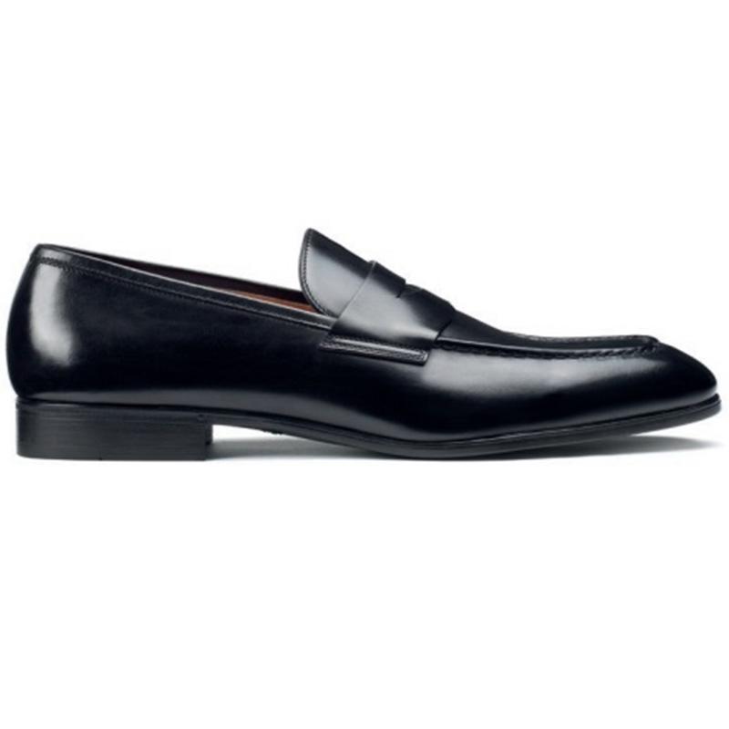 Santoni Gavin Penny Loafer Shoes Black Image