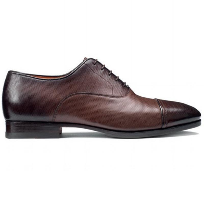 Santoni Iafet P3 Toe Cap Oxford Shoes Brown Image