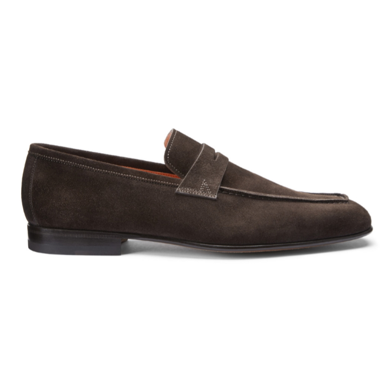 Santoni Imam SYWT50 Suede Loafers Dark Brown Image