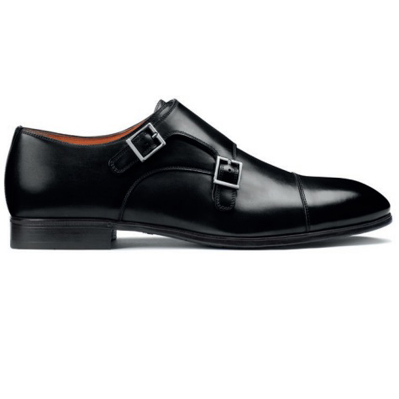 Santoni Inca O1 Double Buckle Shoes Black Image