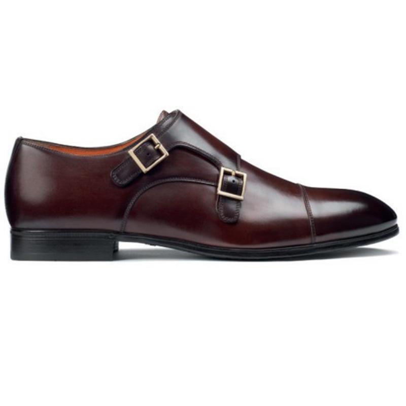 Santoni Inca O1 Double Buckle Shoes Dark Brown Image