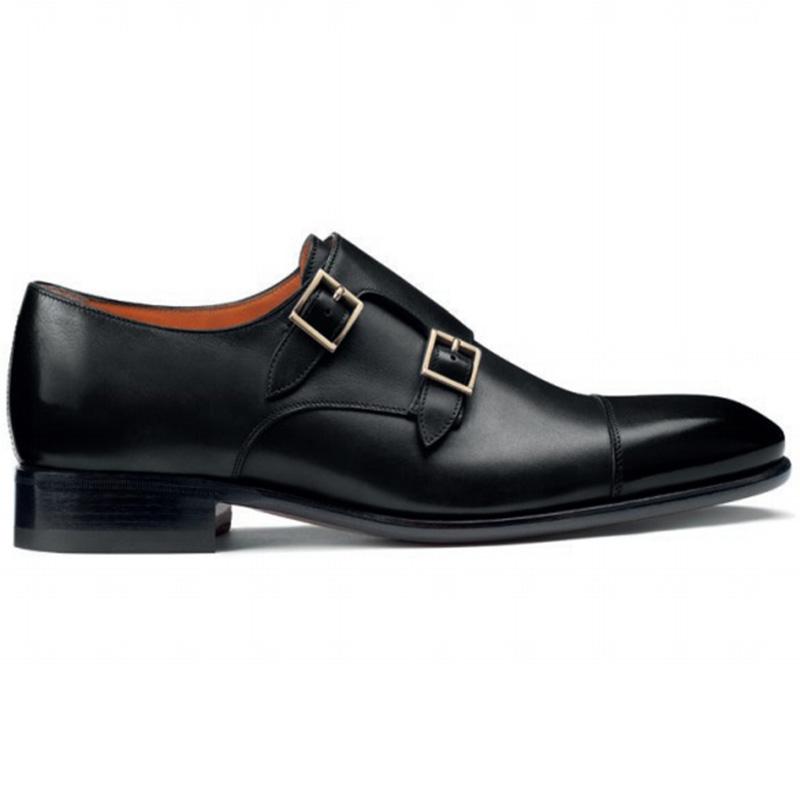 Santoni Innocent 02 Double Buckle Shoes Black Image