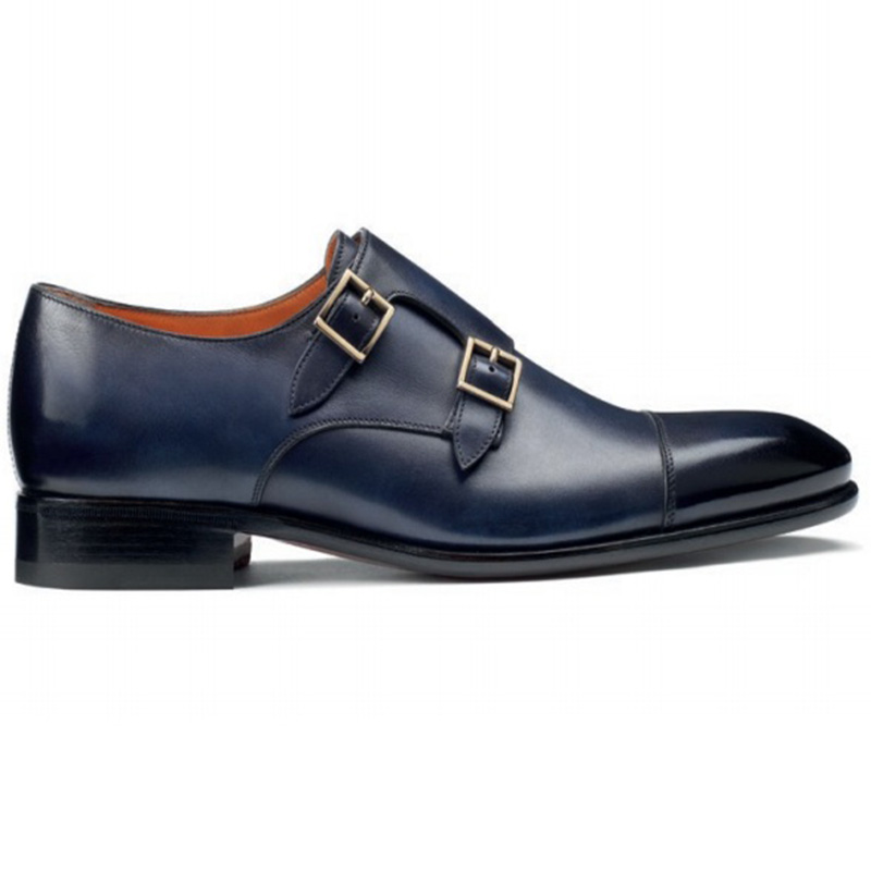 Santoni Innocent O2 Double Buckle Shoes Blue Image