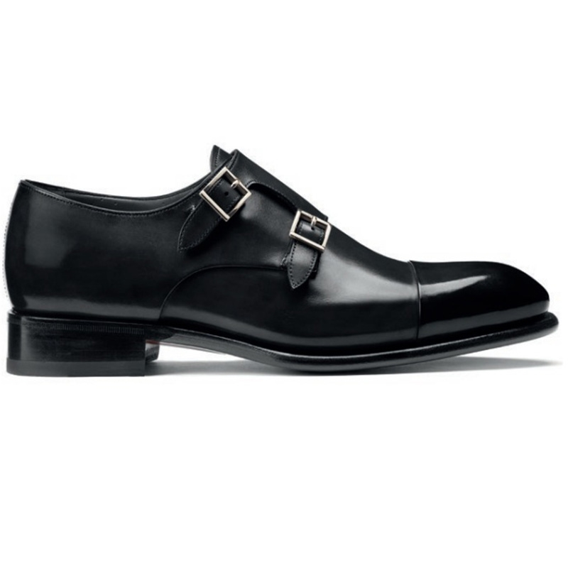 Santoni Ira V1 Double Monk Strap Shoes Black Image