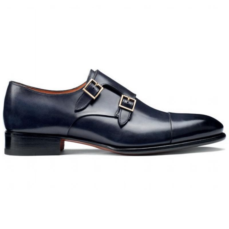 Santoni Ira V1 Double Monk Strap Shoes Blue Image