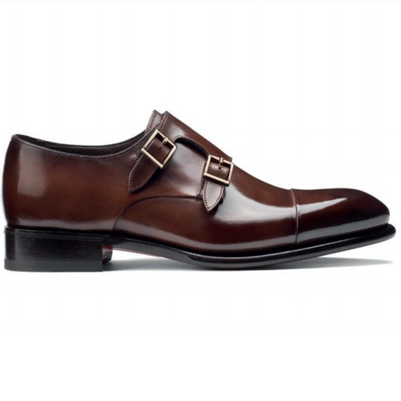 Santoni Ira V1 Double Monk Strap Shoes Dark Brown Image