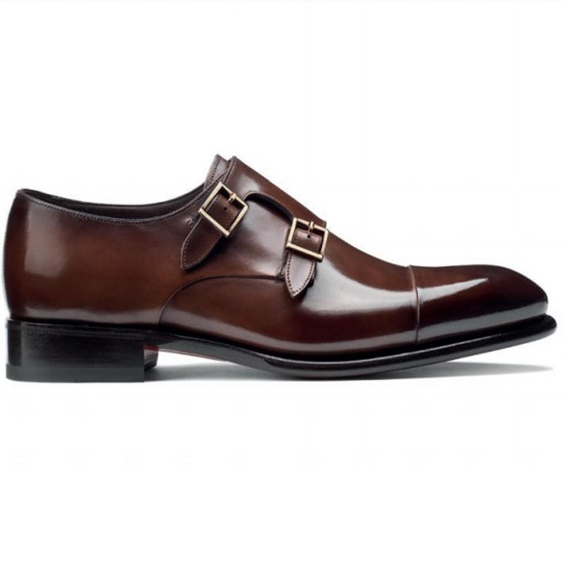 Santoni Ira V1 Double Monk Strap Shoes Dark Brown Image