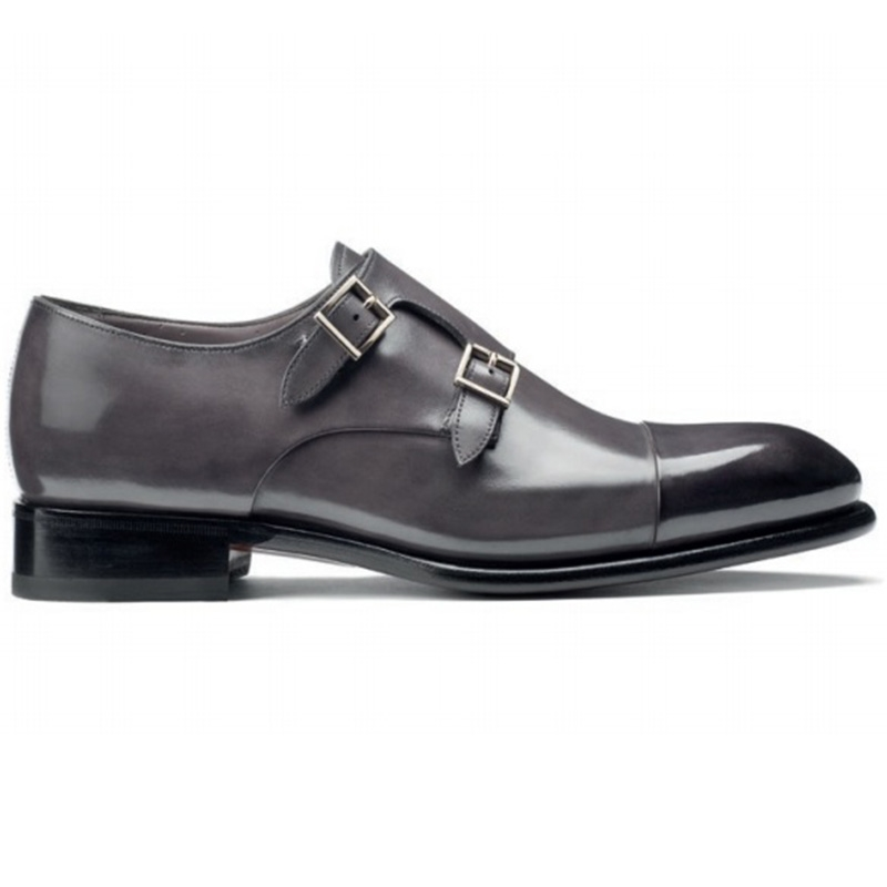 Santoni Ira V1 Double Monk Strap Shoes Grey Image