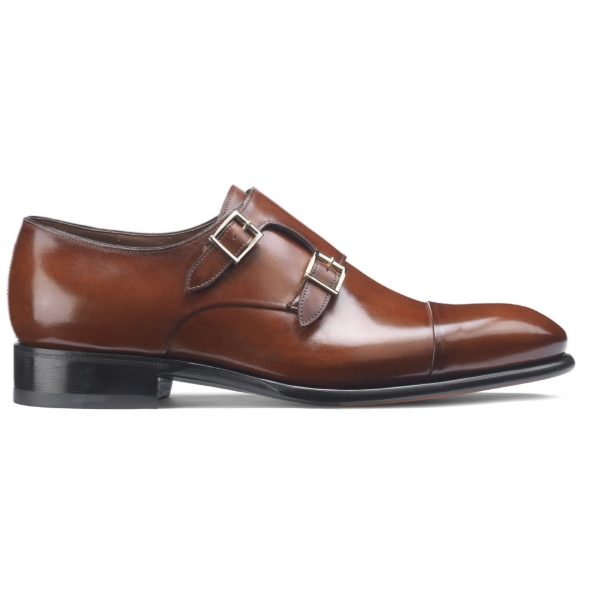 Santoni Ira V1 Double Monk Strap Shoes Light Brown Image