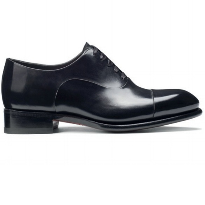 Santoni Isaac V1 Toe Cap Oxford Shoes Black Image
