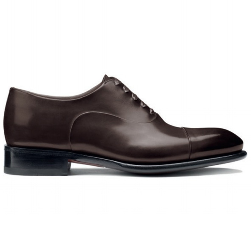 Santoni Isaac V1 Toe Cap Oxford Shoes Dark Brown Image