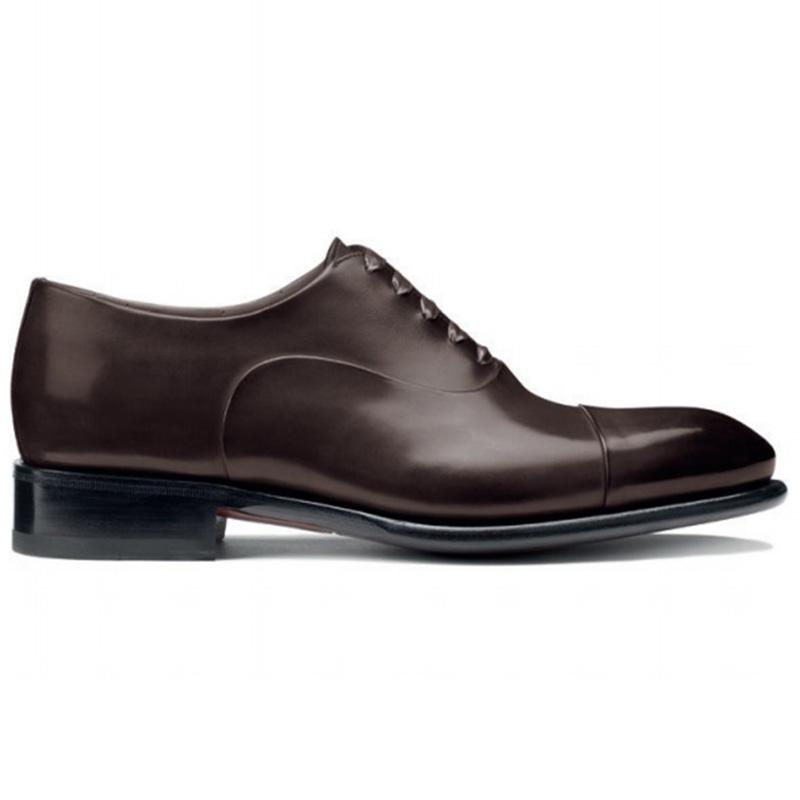Santoni Isaac V1 Cap Toe Oxford Shoes Dark Brown Image